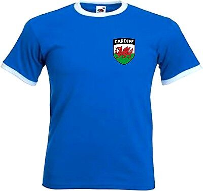 Cardiff City FC Football Club Retro Style Football Soccer T-Shirt - All Sizes