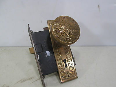 Antique Brass Eastlake Door Knobs, Backplates & Lockset #2