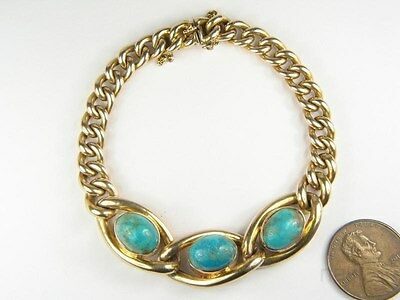ANTIQUE ENGLISH LATE VICTORIAN 15K GOLD TURQUOISE CURB LINK BRACELET c1900