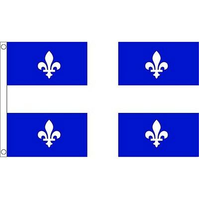 5ft x 3ft Quebec Flag With 2 Eyelets - Canada Canadian 5ft Metal
