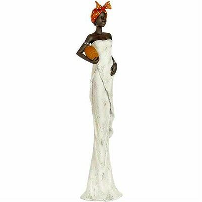 African Lady Bowl Under Arm Ornament - Ethnic Statue Figurine Home Décor