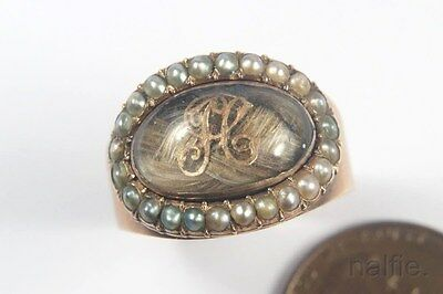 ANTIQUE ENGLISH LATE GEORGIAN 9K GOLD PEARL HAIR LOCKET MOURNING RING c1820