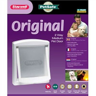 Medium Pet Door Cat Flap - Petsafe Original 2 Way White Dog Care Accessory
