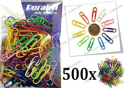 Duralon 500 Quality Assorted Mix Coloured Plain Paper Clips 30mm Steel Metal UK