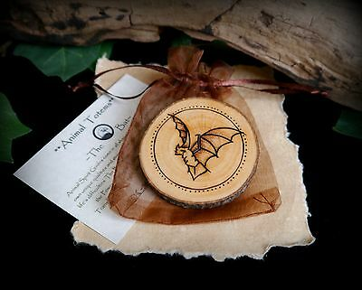 Pyrographed Animal Totem Bat & Moon on Alder Wood Witch Wiccan Pagan Yule Gift