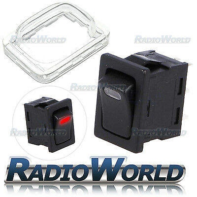 Waterproof Momentary On/Off Rectangle Rocker Switch + Cover Car Dash Boat 12V