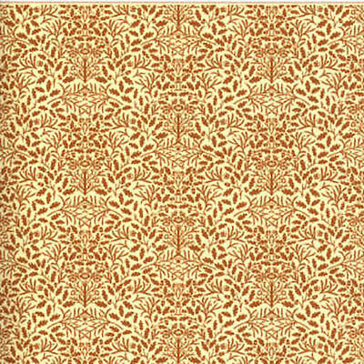 Dolls House 12th scale wallpaper Acorns, Brown on Cream background