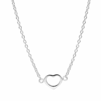 Real 925 Sterling Silver Open Heart Necklace on 18 Inch Chain Love Valentines