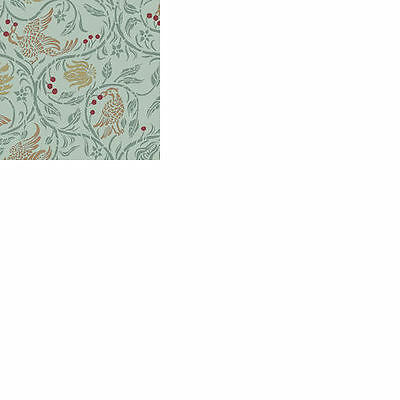 Dolls House 12th scale wallpaper Birds & Berries, Green background