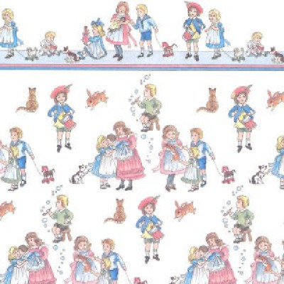 Dolls House 12th scale wallpaper Children on White background