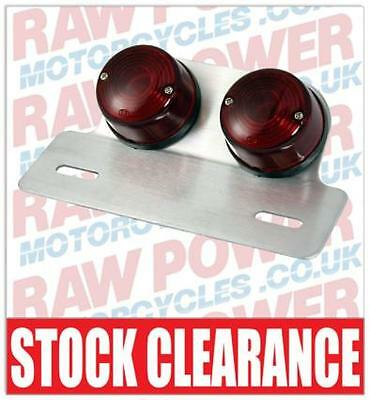 Bike It Universal Motorcycle Rear Light - Twin Round with Backing Plate (RLTTRND