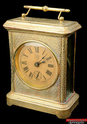 Antique CFK Co Textured Brass Glass Handled Carriage Alarm Clock Repair/Parts