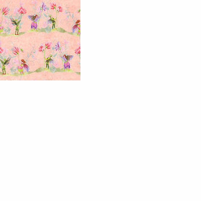 Dolls House 12th scale wallpaper Fairies with Sweet Peas, Pink background.