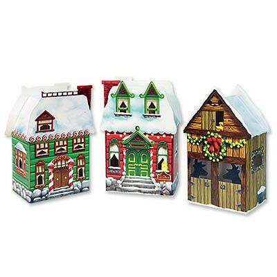 Pack of 3 Christmas Village Favor Boxes - Party favor boxes