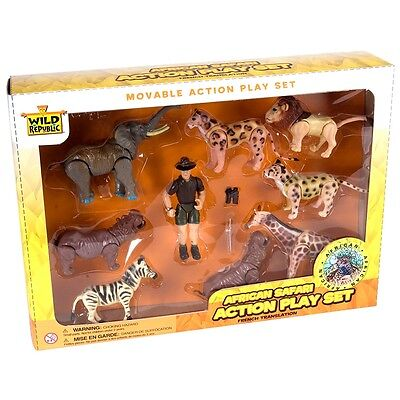African Safari Action Figure Playset - Wild Republic Eco Expedition Movable Set