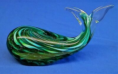 Art Glass Whale Figure Paperweight - Juliana Objets D'art Collection Sea Animal
