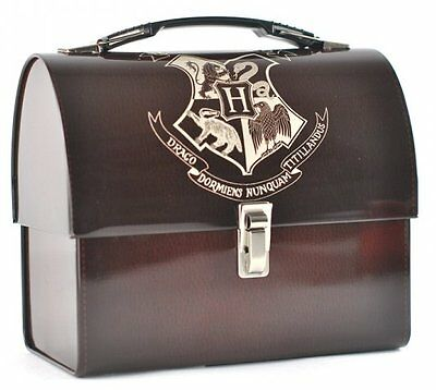 Harry Potter HOGWARTS CREST Domed TIN TOTE - Metal SCHOOL Lunch Box + Handle