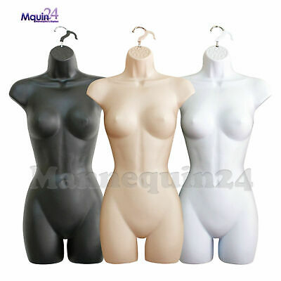 Set of 3 Mannequin Female Torsos - Dress Forms Flesh White Black + 3 HANGERS