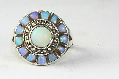 Antique Signed Theodor Fahrner Sterling Opal Marcasite Ring
