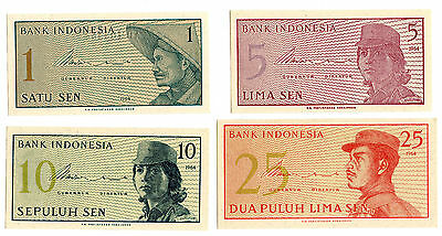 Lot of Indonesia 1964 Currency Set 25 10 5 1 Sen Bank Notes - KX925