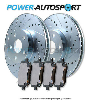(Rear) Power Cross Drilled Slotted Plated Brake Rotors + Ceramic Pads 75790Pk