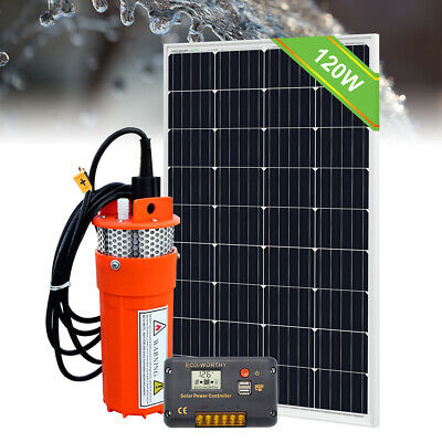 100W Solar Panel with 12V Deep Well Water Pump for Home Irrigation Ranch Farm