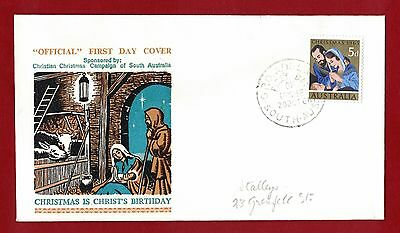 1965 Australia First Day Cover 5d Christmas Adelaide - Stalleys 20.10.65