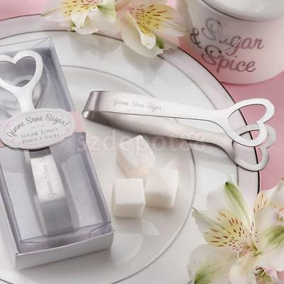 """2x Stainless Steel Sugar Candy Tongs Heart Design Wedding Prom Serving Clip 4"""""""
