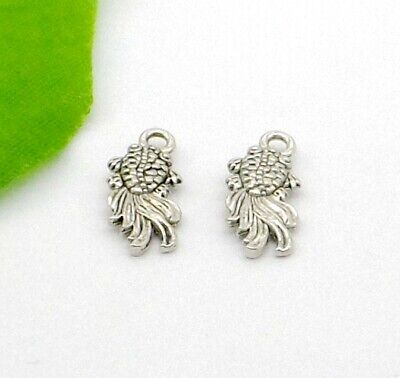 Free Ship 50pcs Antique Silver Fish Charm Pendant Jewelry Findings 18x8mm