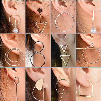 NT Women's Fashion Punk Rock Retro Round Button Design Earring Ear Stud Jewelry