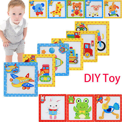 Animal/Vehicle Magnetic DIY Wooden Brick Puzzle Toy Baby Toddler Development Toy
