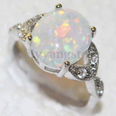 Size 7-10 Sterling Silver Plated Australian Fire Opal Ring Wedding Engagement