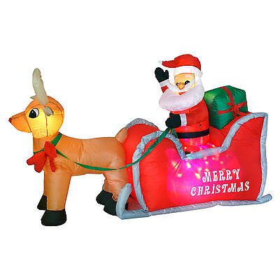 Inflatable Santa And Sleigh Christmas Decoration 4ft x 6ft Outdoor Garden LED