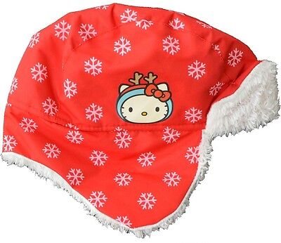 BABY & GIRLS HELLO KITTY - Winter Snowflake Trapper Hat   1-3 yrs  4-6 yrs