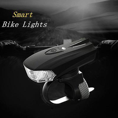 Bicycle Smart Sensor LED Light Front Lamp USB Rechargeable Bike Cycling