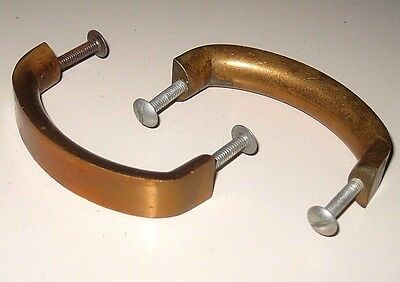 Lot of 2 Vintage Solid Bronze Copper Mid Century Modern Desk Drawer Pull Handles