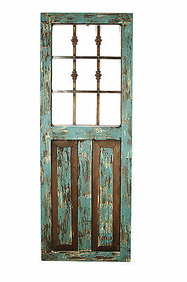 Durango Rustic Architectural Wall Window-Wood & Iron-Home Decor-18x48-Turquoise