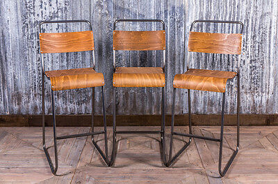 Vintage Style Tall Stacking Bar Stool In Gunmetal