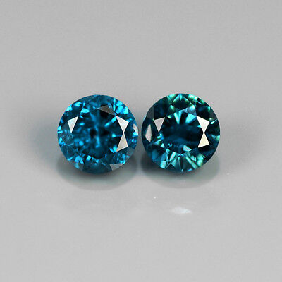 0.31 ct. Perfektes Paar runde Fancy Blue 3.3 mm Diamanten, SI-1 / SI-2 !