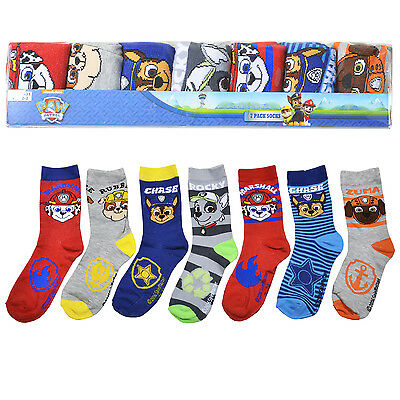 PAW Patrol Character Socks 7 Pack Assorted Official Girls Boys Kids Chase Pups