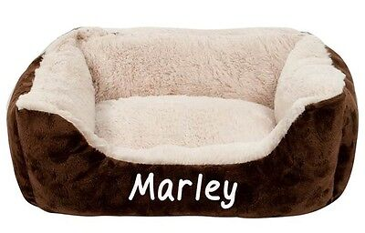 Personalised Brown Cushioned Pet Bed 46cm x 40cm Available in four colours