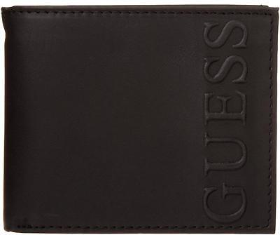 New Guess Black Leather Credit Card Case Billfold Id Passcase Men's Wallet