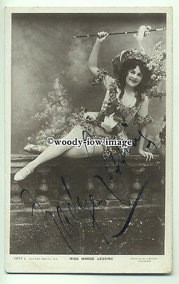 b3374 - Stage Actress - Madge Lessing - Autographed postcard