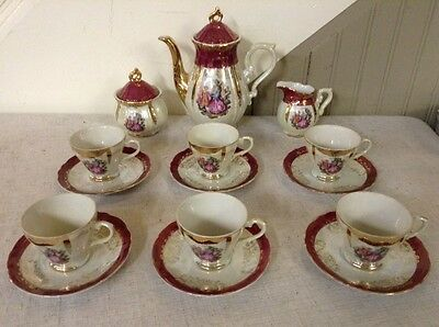 Antique Vintage Elegant 17 Pc Coffee Tea Cup Saucer Set Gold With Dancing Couple