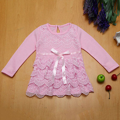 Kids Baby Girls Long Sleeve Cotton Tops Dress Blouse Tulle Lace Skirt Clothes CI