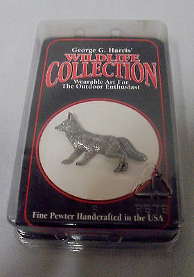 "Fox Pewter Pin, George G. Harris Wildlife Collection USA, 1"" Tall 1.5"" Long"