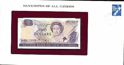 """New Zealand ~ 1981 ~ $2 Two Dollars Note ~ Cu ~ """"banknotes Of All Nations"""""""