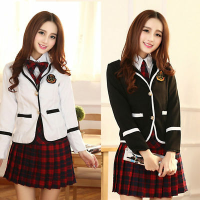 e0907524f6 Korean Japanese School Girl Costume Student Uniform w/Jacket Suit for  Cosplay