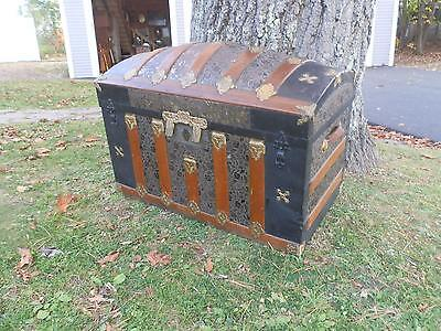 Spectacular Antique Domed Wood Strapped  Maritime Chest W/Embossed Tin Detail