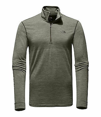 The North Face Men's ENG WOOL 1/4 Zip L/S Merino Wool Base Mid-Layer Top Green M